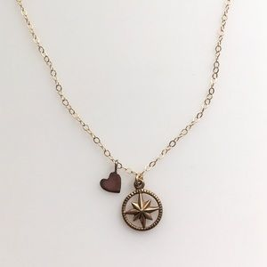 Jewelry - Handmade North Star Compass Necklace Gold Fill